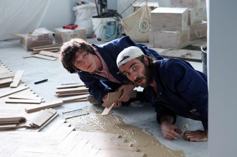 """Andrea Bosca and Giovanni Calcagno as Gigio and Luca in """"Si Può Fare"""" (2008)"""